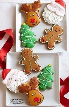 Christmas Cookies: Santa, reindeer, gingerbread man, and Christmas tree Christmas Biscuits, Christmas Sugar Cookies, Christmas Sweets, Christmas Cooking, Noel Christmas, Christmas Goodies, Holiday Cookies, Holiday Treats, Reindeer Cookies