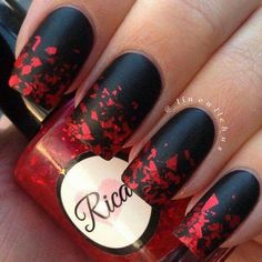 Black Nails with Red Glitter Flakes