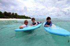You're never too young to catch the surfing bug in Kuda Huraa's beautiful lagoon. info@tropicsurf.net