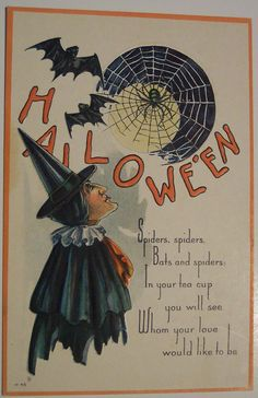 More Halloween fortune-telling superstition. I like the web with the bats and Halloween graphic. Halloween Post, Retro Halloween, Halloween Pictures, Halloween Signs, Holidays Halloween, Halloween Themes, Halloween Crafts, Happy Halloween, Halloween Stuff