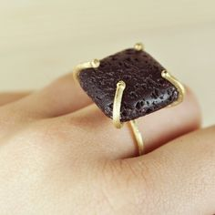Bronze ring with black lava stone.  Fab.