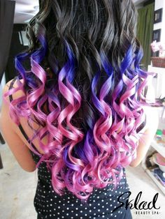 Purple and pink ombre hair.i probably would never get it but it's cool