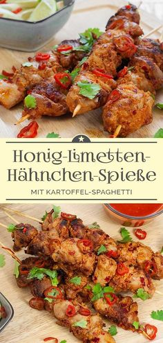Honey-lime-chicken skewers with potato spaghetti - a .- Spicy honey-lime-chicken skewers with potato spaghetti - Grilled Chicken Recipes, Spicy Recipes, Shrimp Recipes, Grilling Recipes, Pasta Recipes, Healthy Recipes, Healthy Foods, Honey Lime Chicken, Spicy Honey