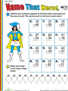 name that hero two digit addition 1 worksheets and math. Black Bedroom Furniture Sets. Home Design Ideas