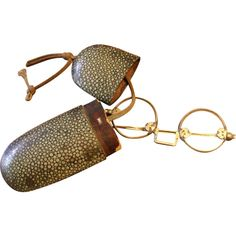 Antique Shagreen Eyeglass Case with Chinese Eyeglasses ❤ liked on Polyvore featuring accessories, eyewear, eyeglasses, glasses, fillers, wooden eyewear, antique eyewear, antique eye glasses, wooden glasses and antique glasses