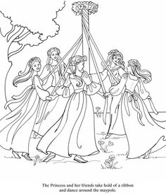 Maypole Dancing On May Day Coloring Pages : Best Place to Color Coloring Book Pages, Coloring Sheets, Dance Coloring Pages, Wiccan Crafts, May Days, Princess Coloring, Beltane, Colorful Drawings, Book Of Shadows