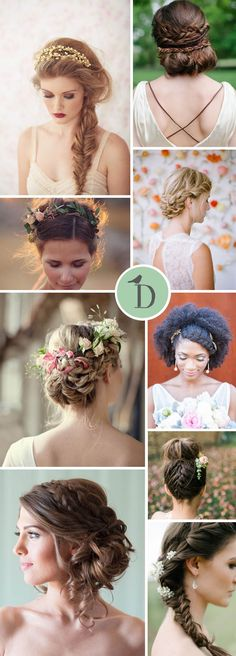 BEAUTIFUL BRIDAL BRAIDS I am such a fan of braids and plaits in bridal hairstyles. They can be polished and chic, or boho and romantic. Chunky side fishtail braids are a simple style to go for, and look fab with flower crowns or headpieces. A plait combined with a classic chignon is timeless and perfect with your veil. My personal favourite though, has got to be the combination of updo with different little braids. So soft and romantic!