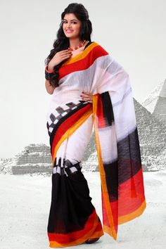 Off-white and Black Cotton Silk Printed Casual and Party Saree Sku Code:293-4047SA444484 $ 21.00