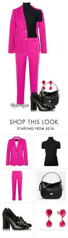 """Bright Cropped Pantsuit 2"" by ravenlancaster ❤ liked on Polyvore featuring J.Crew, Emilio Pucci, Coach, Gucci and Pomellato"