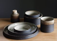 custom ceramic dinnerware modern  dish set - mix and match shapes- made to order. $225.00, via Etsy.