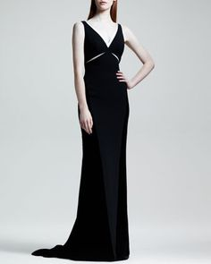 $6,000, Black Evening Dress: Stella McCartney Velvet Cutout Contrast Trim Gown. Sold by Neiman Marcus. Click for more info: https://lookastic.com/women/shop_items/20578/redirect