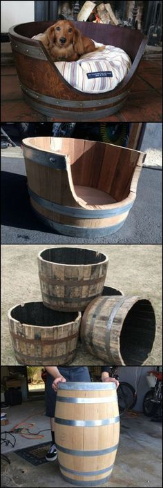 DIY Dog Beds - DIY Wine Barrel Dog Bed - Projects and Ideas for Large, Medium and Small Dogs. Cute and Easy No Sew Crafts for Your Pets. Diy Pet, Diy Dog Bed, Wood Dog Bed, Pallet Dog Beds, End Table Dog Bed, Bed Table, Wine Barrel Dog Bed, Niches, Dog Rooms