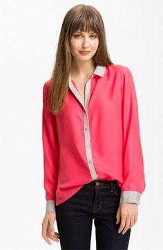 Trouvé Contrast Trim Silk Shirt available at #Nordstrom