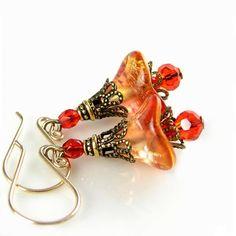 Orange Red Earrings Czech Glass Bell Flower Earrings Red Orange Flower Earrings Antique Gold Brass Earrings. $25.90, via Etsy.