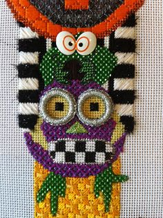 Split the Needles, needlepoint owl totem pole for Halloween