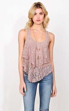 #FashionVault #styles for less #Women #Tops - Check this : Jules Lace Neckalce Tank - - Mocha in Size by Styles For Less for $19.99 USD