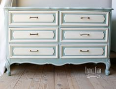 French Provincial Dresser changing table painted blue white gold hardware on Etsy, $375.00