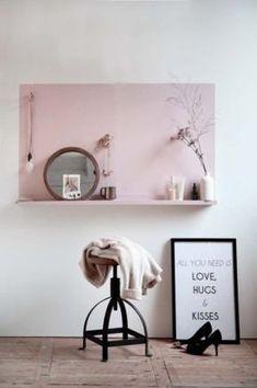 Ikea Ribba Painted Pink Wall idea Hallway Hall Entryway