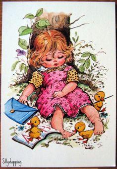 Cute Vintage Sleeping  Big Eyed Girl Postcard