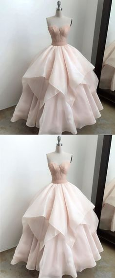 Sweetheart Prom Dress, Blush Pink Organza Ruffles Prom Dress, Long Evening Gown for Teens #promdress #promdresses #prom #dress #gowns