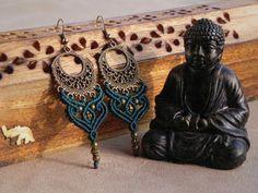 Macrame Bohemian Earrings. Tribal Gypsy Jewelry. Spiritual Jewelry. Bellydance Elven Earrings.