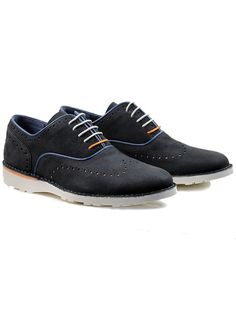 Vegan Vegetarian Non-Leather Mens Brogues in Dark Blue