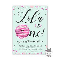 Printable Donut Birthday Invitation 1st Birthday Donut Themed