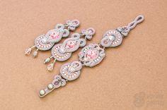 Dolly set - handmade soutache earrings and bracelet with swarovski elements