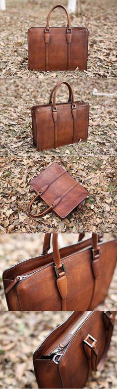 Handmade Vintage Full Grain Leather Briefcase, Laptop Bag, Men's Handbag