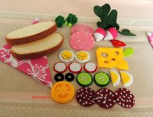 Kids play food, felt food, felt sandwich, play food sandwich, Lunch time - montessori toy, prop.  Playing How to make a sandwich.  Sandwich set includes: - 2 slices of bread, - 3 slices of salami, - 2 broccoli, - slice of cheese, - 4 slices of egg, - 2 radishes, - 3 slices of radish, - 2 slices of cucumber, - slice of red tomato, - slice of yellow tomato, - 2 slices of ham, - 2 sliced olive, - leaf basil.  Materials: felt, threads. Please check out my other items