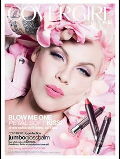 Covergirl Cosmetic Advertising with Pink