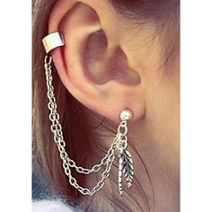 Silver Feather Chain Ear Cuff ($9.90) ❤ liked on Polyvore