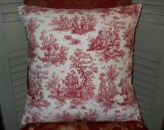 Red Toile Pillow Cover, 20'' x 20'' French Toile Pillow Cover, Decorative Red Pillow Cover, French Country Farmhouse, Shabby Chic Cottage