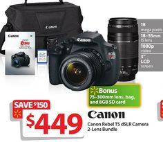 Best DSLR Camera Cyber Monday 2014 Deals. Canon Black Rebel T5 18 MP Digital SLR Camera Bundle with 18mm-55mm and 75mm-300mm Lenses, Includes Bag, Memory Card and DVD from Walmart $499.99