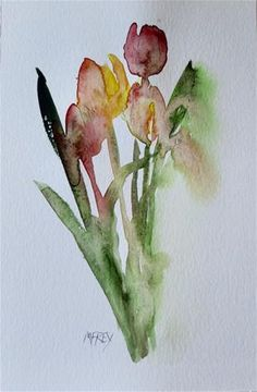 """Daily Paintworks - """"Tulip Floral 0309"""" - Original Fine Art for Sale - © Michelina Frey"""