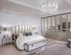 Glamorous white bedroom decor with white luxury bed and platinum bedroom set nightstands and dresser, luxury glam bedroom, girly feminine bedroom, chic cozy bedroom