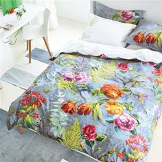 Tulipani Graphite Bed Linen | Designers Guild