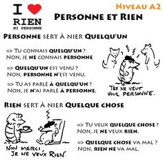 French vocab Personne et Rien. French Teacher, Teaching French, French Numbers, French Conversation, Learn To Speak French, French Online, Learning Cards, French Grammar, French Tips