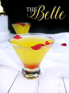 This Beauty and The Beast inspired cocktail is the perfect yellow limoncello and Chambord martini for a Beauty and The Beast party. The Belle cocktail is inspired by my favorite character. // www.ElleTalk.com