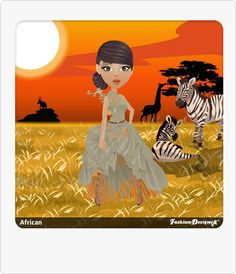 Safari Gown Fashion Designer Game, Game Design, Safari, Disney Characters, Fictional Characters, Sunrise, Gown, African, Posts