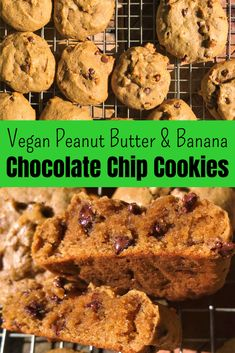 Vegan Chocolate Chip Cookies with Peanut Butter & Banana. They are soft, moist, light and delicious. Super easy to make, with usual household ingredients. Peanut Butter Banana Cookies, Banana Chocolate Chip Cookies, Vegan Peanut Butter, Vegan Recipes Easy, Vegan Desserts, Dessert Recipes, Vegan Snacks, Veggie Recipes, Vegan Food