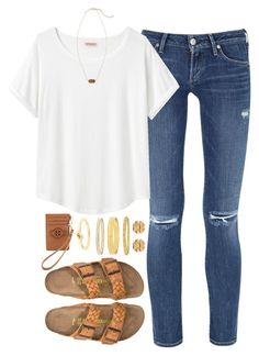 """""""what I wish I could wear to school"""" by tabooty ❤ liked on Polyvore featuring Citizens of Humanity, Organic by John Patrick, Birkenstock, Tory Burch, Kendra Scott and Kate Spade"""