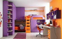 Bedroom Color Design Minimalist Teenage Bedroom Color Schemes Minimalist Kids Room Study Desk Bookcase Purple Orange Computer Wardrobe Interior Design