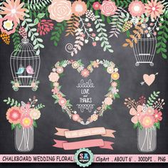 "Chalkboard Wedding Clipart "" WEDDING FLORA ""  Mason Jar,Birdcage,Banner,Wreath,Love Bird,laurels,Wedding invitation,Instant Download Wf087 by SAClipArt on Etsy"