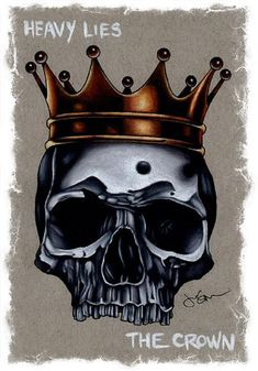 heavy lies the crown by jeff saunders gothic king skull tattoo canvas art print skeleton goth emo tattoo-artwork alternative-artwork Emo Tattoos, Skull Tattoos, Crown Tattoos, Tatoos, Crown Art, The Crown, King Crown Drawing, Lowbrow Art, Art Reproductions