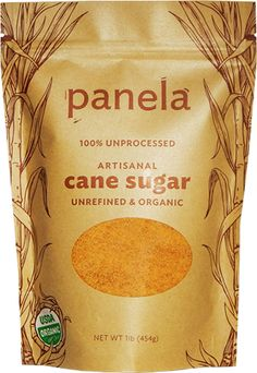 'JUST PANELA', imported from Colombia by Panela LLC, Boulder, CO. Explore sugars, syrups and tabletop sweeteners at the WhatSugar blog. www.whatsugar.com #CaneSugarBrand
