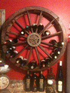 wagon wheel wine holder