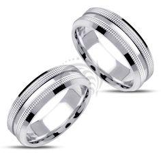 14k white Gold Couple Wedding Rings 7 mm