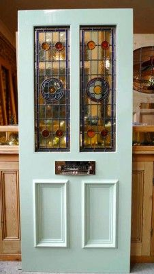 Victorian Style 2 Panel Stained Glass Front Door - Stained Glass Doors Company - March 09 2019 at House Front Door, Interior Barn Doors, Glass French Doors, House Front, Victorian Door, Glass Front Door, Victorian Front Doors, Edwardian House, Stained Glass Door