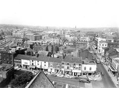 Sep Photograph of Church Street and Market Street, St.Helens from Parish Church Tower. St Helens Town, Saint Helens, The Old Days, My Town, Paris Skyline, Past, Old Things, Tower, England
